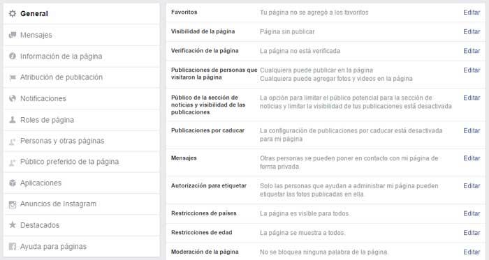 configuracion pagina