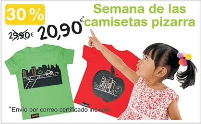 Cartel promoción camisetas pizarra