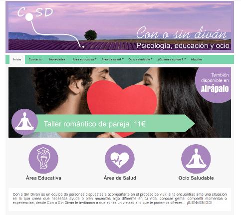 Diseño web para centro de psicología: Con o sin diván