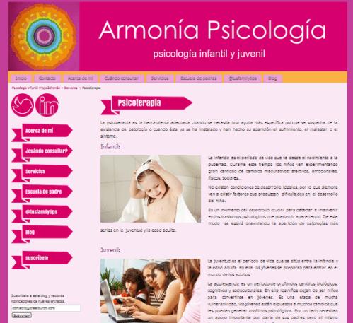 Página web para psicólogos: Armonía psicología
