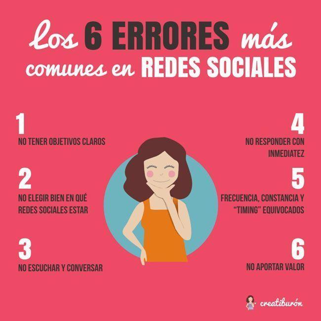 Los 6 errores más comunes en redes sociales
