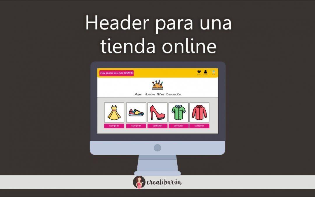 header de una tienda online